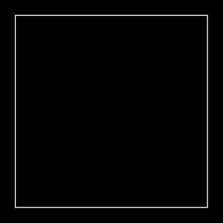 White quadrangle on a black background. Square frame.