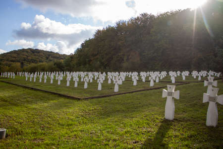 Crosses in the cemetery, burial of people, sunny day
