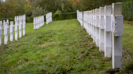 Perspective of white crosses in the cemetery, green grass.