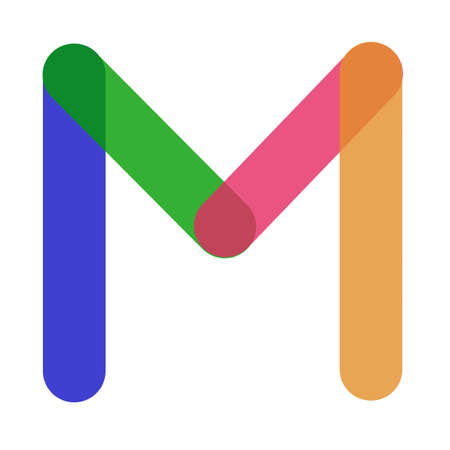 Letter M multicolored, blue, pink, orange and green colors on a white background.