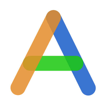 Capital letter A, orange, green and blue at the same time.