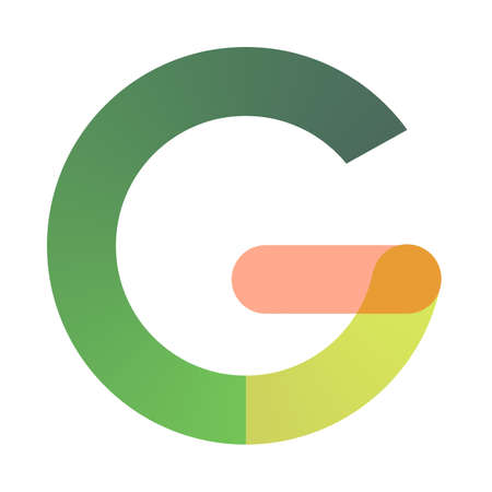 Capital multicolored letter G, gradient green, yellow and pink on a white background. 免版税图像