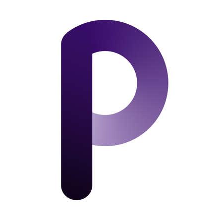 Gradient purple letter P, icon for design