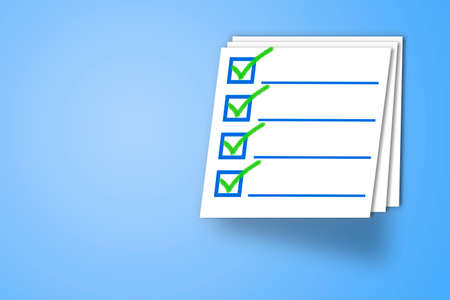 concept of survey, exam, test, questionnaire, document. Check mark icon. 免版税图像