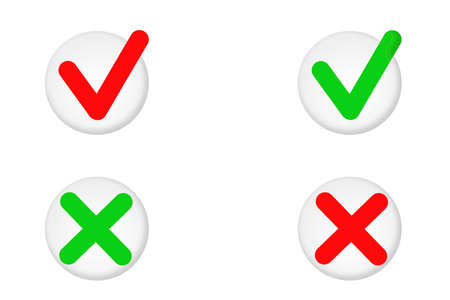 Tick or cross in a circle, set illustration for design, confirmation or cancel action icons. 版權商用圖片