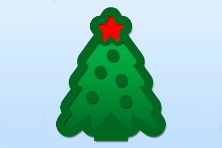 Illustration of a Christmas tree on a blue background.
