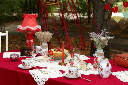 romance  red  tea table  party for lovers outdoor
