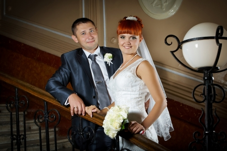 Romance  Beautiful  Happy Bride and Groom on wedding day photo