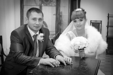 Romance  Beautiful  Happy Bride and Groom on wedding day photo