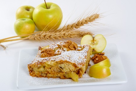 slice of tasty homemade pie with apples photo