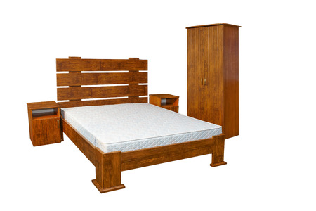 vintage wooden bed isolated on white background photo