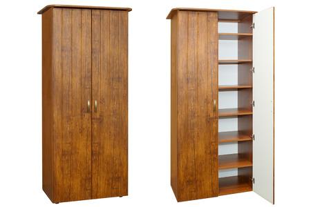 wooden brown wardrobe on a white photo