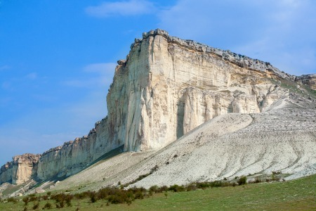 talus: Summer landscape with a white rock in the valley of the sun in the morning. Crimea, Ukraine