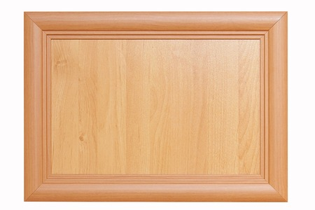 nameboard: wooden plate or nameboard in wooden frame isolated on white Stock Photo