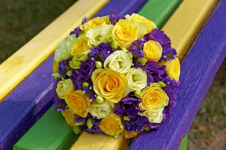 Wedding bouquet on background yellow purple bench stock photo stock photo wedding bouquet on background yellow purple bench mightylinksfo