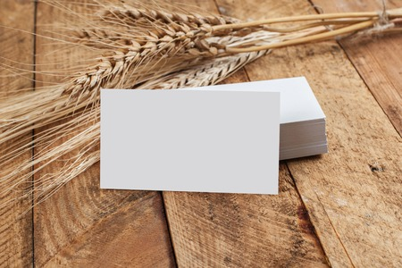 Photo of business cards. Template for branding identity. For graphic designers presentations and portfolios. With wheat spikelets on wooden background. Subject agronomist, agriculture Stock Photo