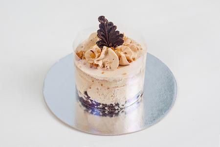 Delicious cake on white background. Tasty Festive dessert