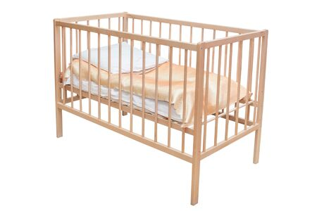 Bed for small children. Isolated on a white background.