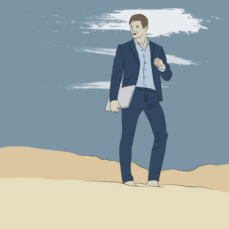 Beautiful young man in suit stands on top of hill sand while in desert with laptop enjoying nature and the sun. Peaceful place to work and leisure. Achieving success. Vector illustration.