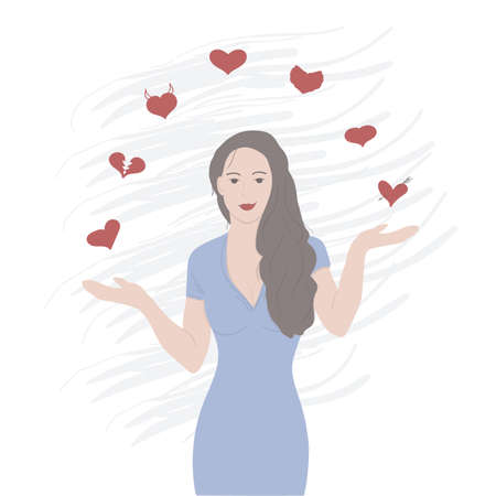 Beautiful girl Heartbreaker juggles hearts. Vector illustration.