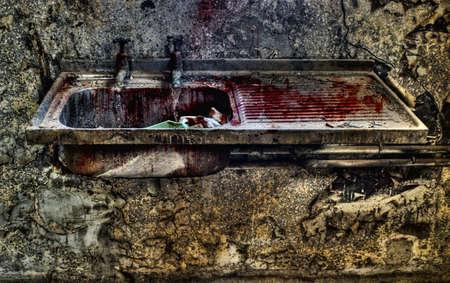lavamanos: Imagen HDR de una cuenca de lavabo en una morgue de desuso antiguo