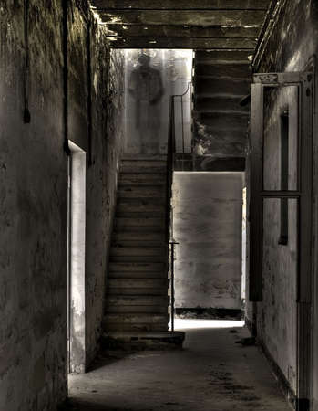 An eerie ghostlike apparition in an old stairwell in Malta
