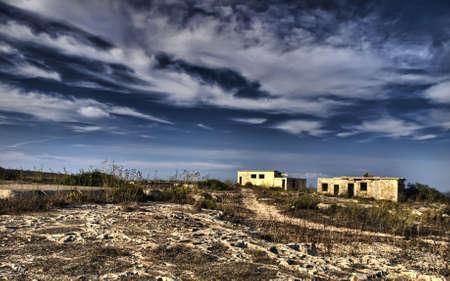 wartime: Derelict wartime British barracks lying in ruins at Selmun in Malta