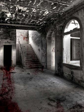 流血暗く、神秘的な部屋で終わる廊下の向こう側のマークをドラッグします。