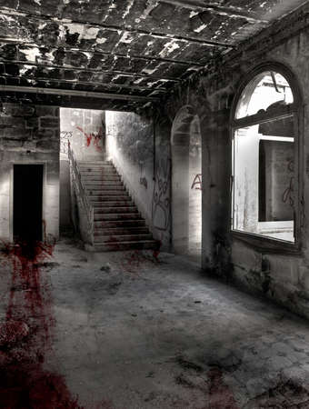 derelict: Bloody drag marks across hallway ending up in dark and mysterious room