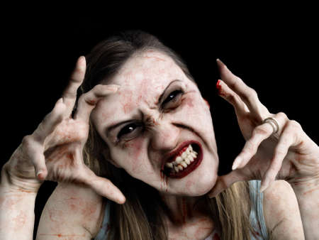Portrait photo of a scary undead or zombie female human