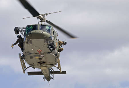 MALTA - OCTOBER 05 2008 - Military Huey UH1-N helicopter rescue Stock Photo