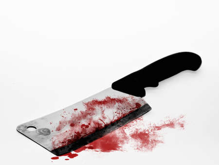 Cleaving knife over white backdrop