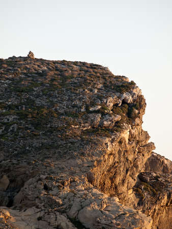 intriguing: An intriguing pile of stones atop the Fungus Rock at Dwejra in Gozo