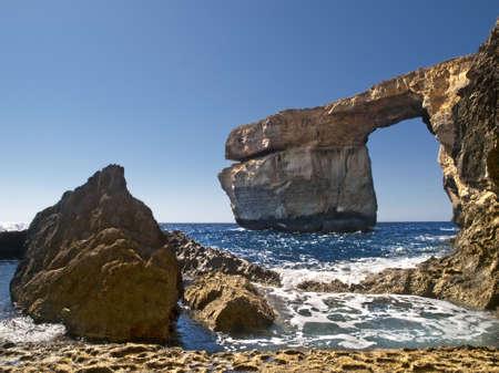 The Azure Window is a unique massive geologic formation in Gozo in Malta