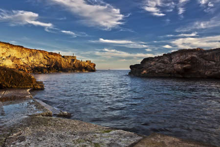 Ghar Lapsi Creek in Malta on a calm winter afternoon