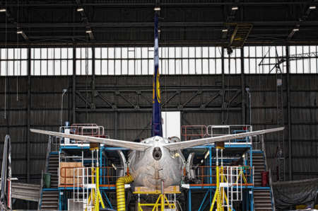 LUQA, MALTA - 27 JUL - Works being carried out inside the Lufthansa Technik hangar on a Lufthansa aircraft