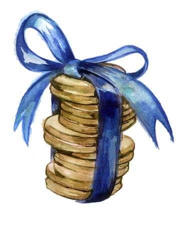 aquarel schets: koekjes met een lint op een witte achtergrond Stockfoto
