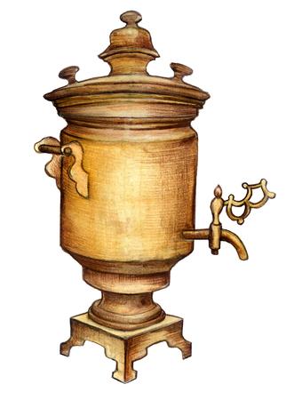samovar: watercolor sketch: a samovar on a white background