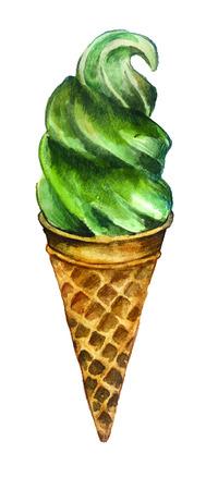 bosquejo de la acuarela: el helado en un fondo blanco