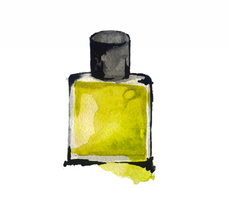 perfume atomizer: watercolor sketch: a bottle of perfume on white background