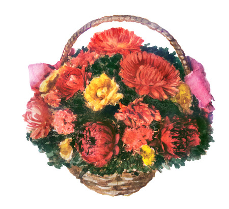 watercolor sketch of flowers in the basket on white background