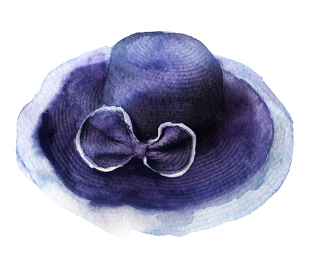 dressy: watercolor sketch: a hat on white background Stock Photo