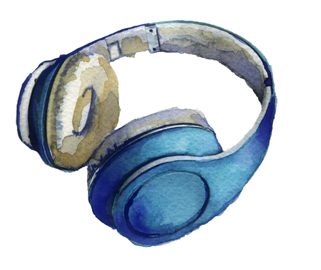 portable audio: watercolor sketch: headphones on a white background Stock Photo