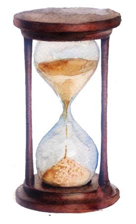 Aquarel schets: zandloper op een witte achtergrond Stockfoto