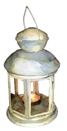 chill: watercolor sketch: the lantern with a candle on a white background Stock Photo