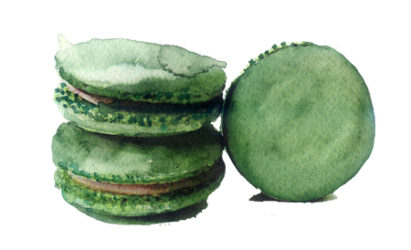 macaron: watercolor sketch: biscuits on a white background