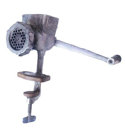 pig iron: watercolor sketch: mincer on a white background Stock Photo