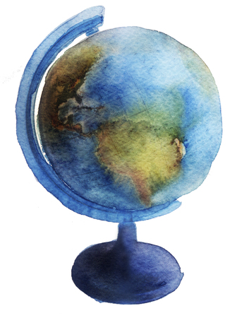 watercolor sketch: Globe on a white background