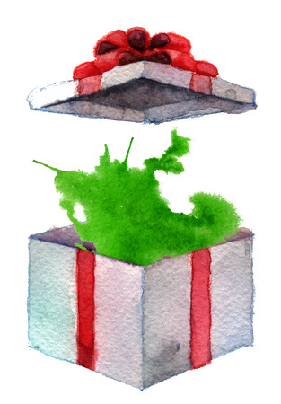 generosity: box with red ribbon on white background