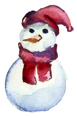 wilderness area: Cute snowman in a red hat and scarf Stock Photo